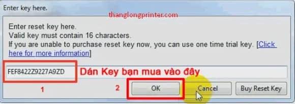 nhập key reset máy in canon
