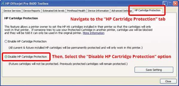 tắt tính năng HP Protected Cartridge