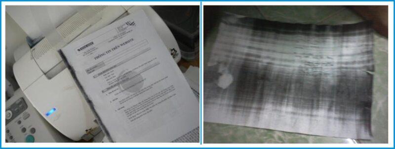 Dấu hiệu hỏng trống máy in trên các tờ in.