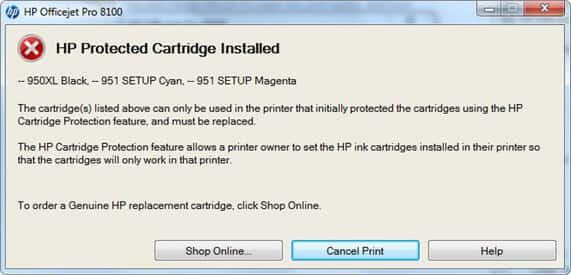sửa lỗi HP Protected Cartridge